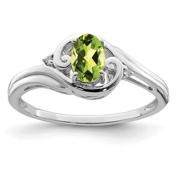 Sterling Silver Rhodium Plated Diamond & Peridot Ring