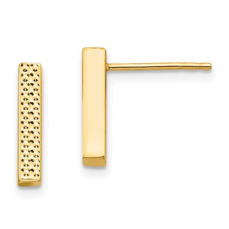 Quality Gold 14K Textured Bar Post Earrings