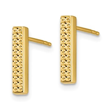 14K Textured Bar Post Earrings