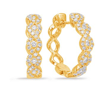 Yellow Gold Diamond Hoop Earring
