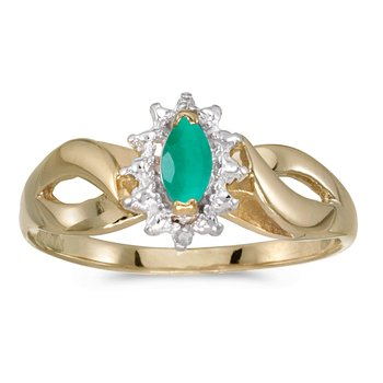 10k Yellow Gold Marquise Emerald And Diamond Ring