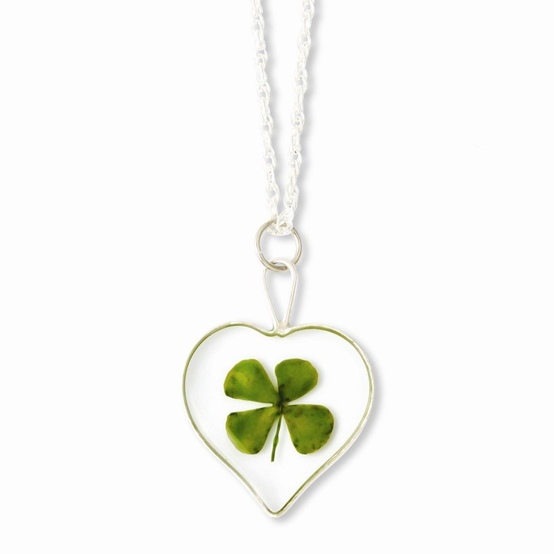 Quality Gold Silver Trim Four Leaf Clover Heart w/ Silver-plated Chain