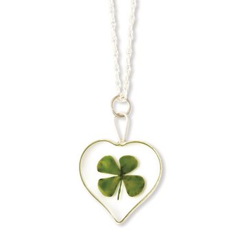 Silver Trim Four Leaf Clover Heart w/ Silver-plated Chain