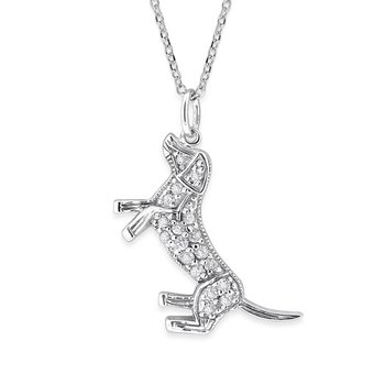 Diamond Dog Necklace in 14K White Gold with 18 Diamonds Weighing .15ct tw.