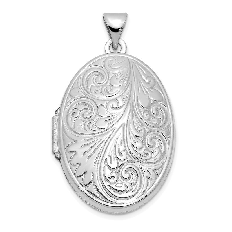 Quality Gold 14k White Gold Scroll Oval Locket