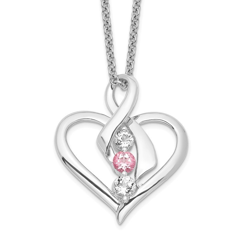 Quality Gold Sterling Silver Survivor Clear & Pink Swarovski Topaz Heather Necklace