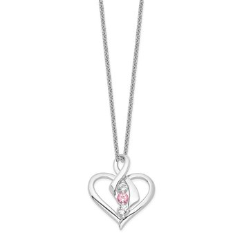 Sterling Silver Survivor Clear & Pink Swarovski Topaz Heather Necklace