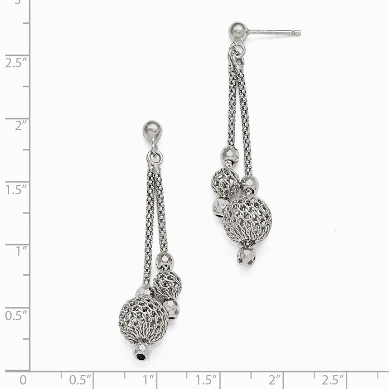 Leslie's Leslie's Sterling Silver Polished and Textured Post Dangle Earrings