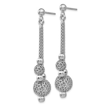 Leslie's Sterling Silver Polished and Textured Post Dangle Earrings