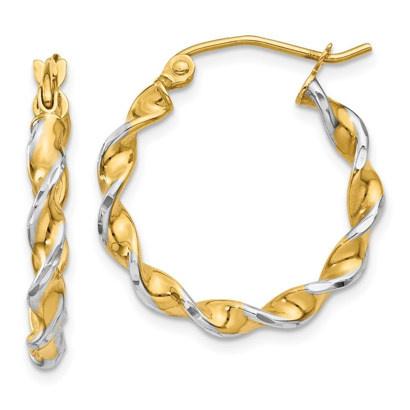 Quality Gold 14k Polished 2.75mm Fancy Twisted Hoop Earrings
