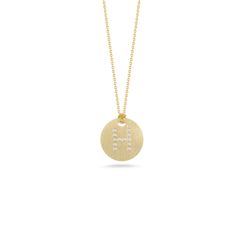 Roberto Coin 18Kt Gold Disc Pendant With Diamond Initial H