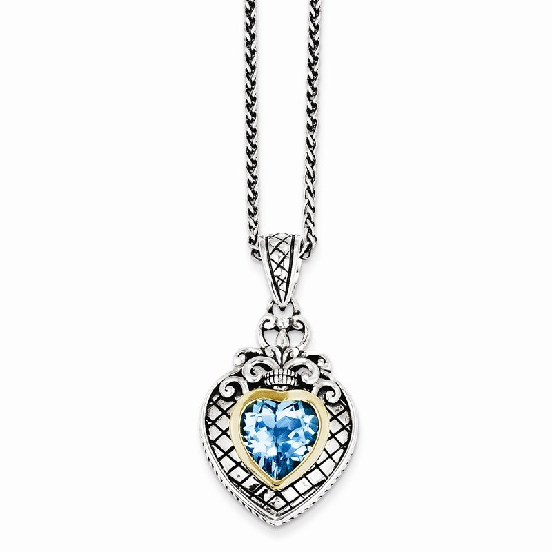 Shey Couture Sterling Silver w/14k Swiss Blue Topaz Heart Necklace