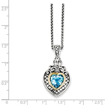 Sterling Silver w/14k Swiss Blue Topaz Heart Necklace