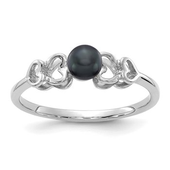 14k White Gold 4mm Black FW Cultured Pearl ring