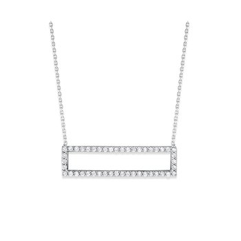 14K Diamond Rectangle Necklace