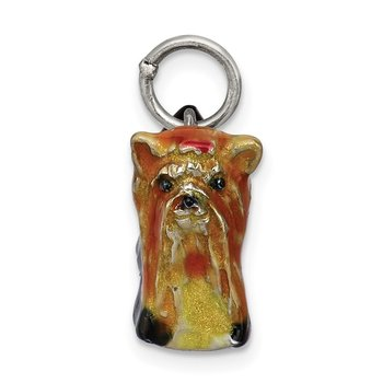 Sterling Silver Enameled Yorkshire Terrier Charm