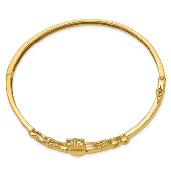 14k 4mm Diamond-cut Claddagh Hinged Bangle Bracelet