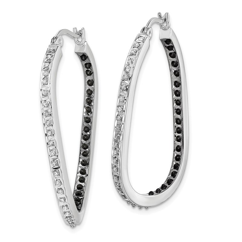 Quality Gold Sterling Silver Black & White Diamond Mystique Twisted Hoop Earring
