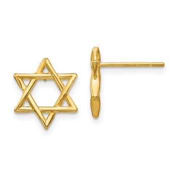 14K Star of David Earrings