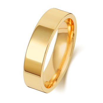 9Ct Yellow Gold 5mm Flat Court Wedding Ring