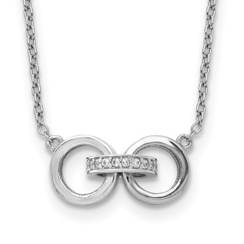 Sterling Silver Rhodium-plated CZ 3-Circles w/2in ext Necklace