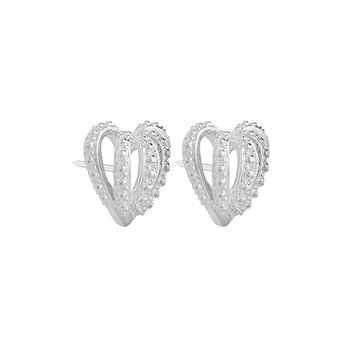 CROWN HEARTS EARRING - Post Er Bright Sterling Silver