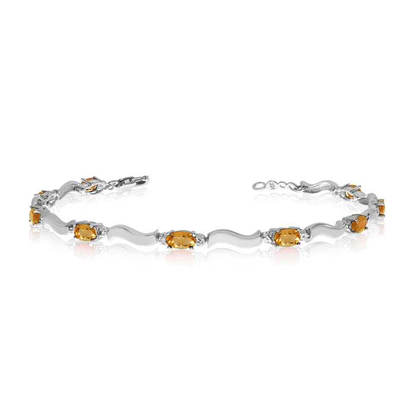 Color Merchants 14K White Gold Oval Citrine and Diamond Bracelet