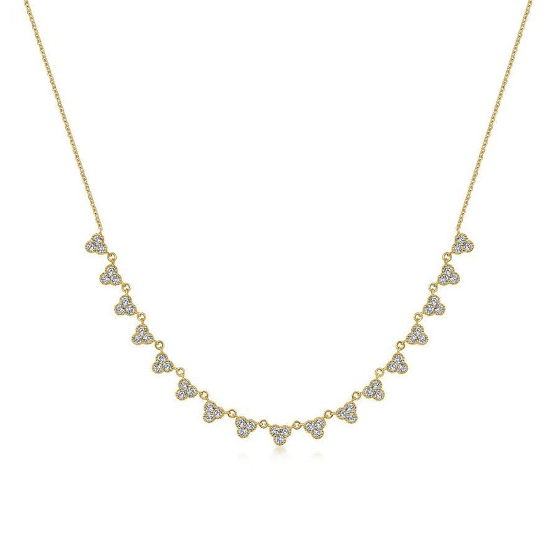 Gabriel Fashion 14k Yellow Gold Scalloped Diamond Choker Necklace