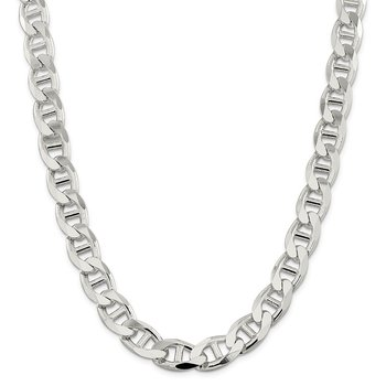 Sterling Silver 13.5mm Flat Cuban Anchor Chain