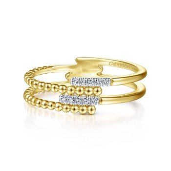14K Yellow Gold Beaded Diamond Ring