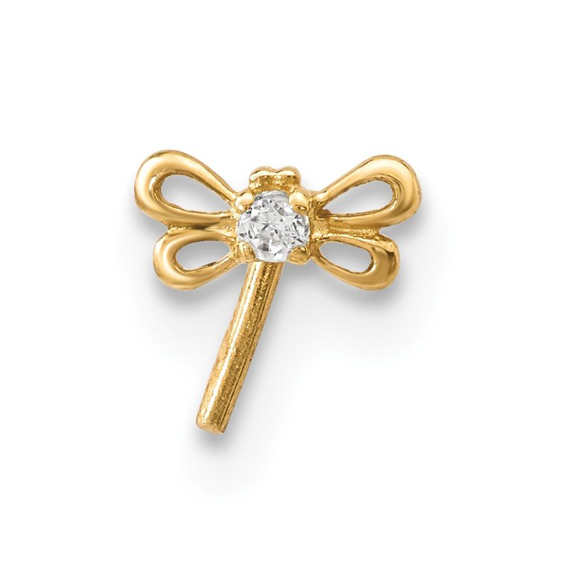 Quality Gold 14k CZ Butterfly Nose Stud