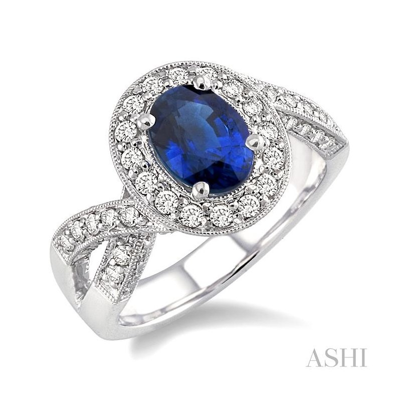 Gemstone Collection oval shape gemstone & diamond ring