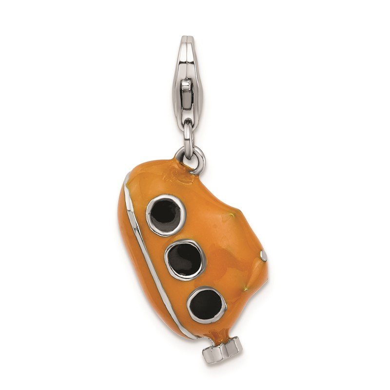 Lester Martin Online Collection Sterling Silver RH 3-D Enameled Submarine w/Lobster Clasp Charm