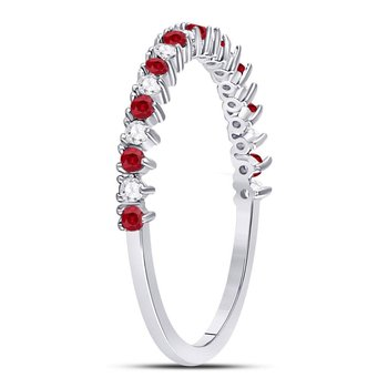 10kt White Gold Womens Round Ruby Diamond Single Row Stackable Band Ring 1/4 Cttw