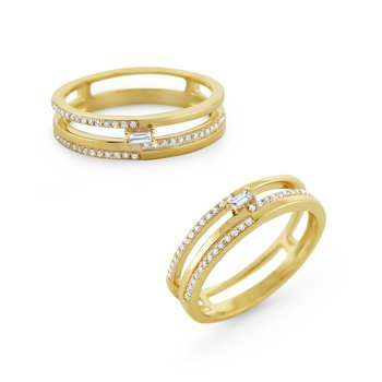 Multi-Level Diamond Mosaic Stack Ring Set in 14 Kt. Gold