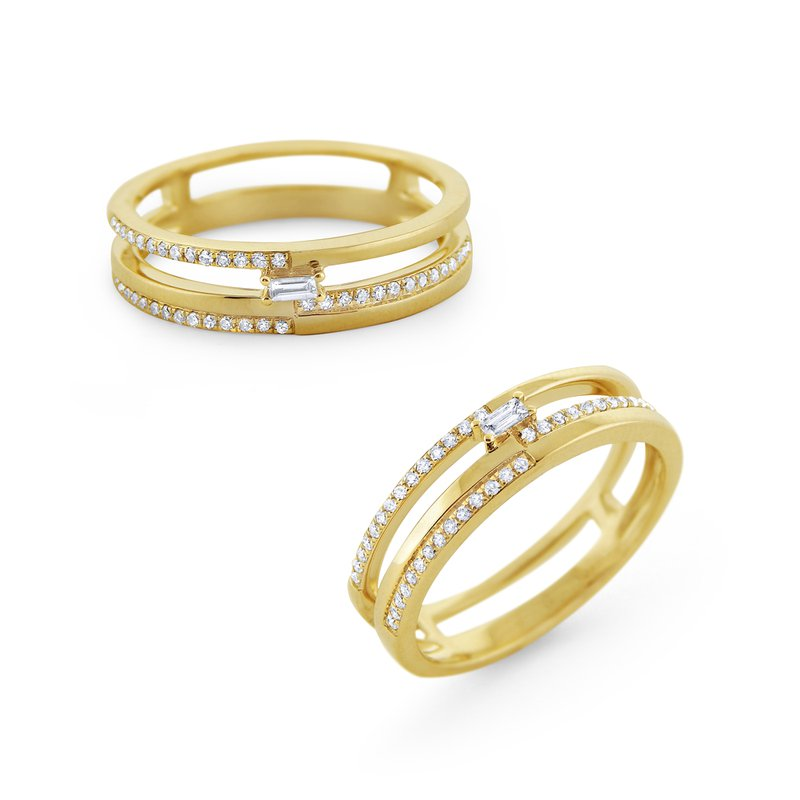 KC Designs Multi-Level Diamond Mosaic Stack Ring Set in 14 Kt. Gold