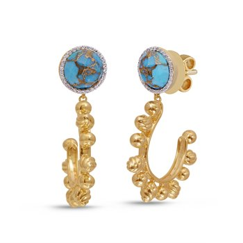 LuvMyJewelry Rise & Shine Turquoise & Diamond Earrings in Sterling Silver & 14 KT Yellow Gold Plating