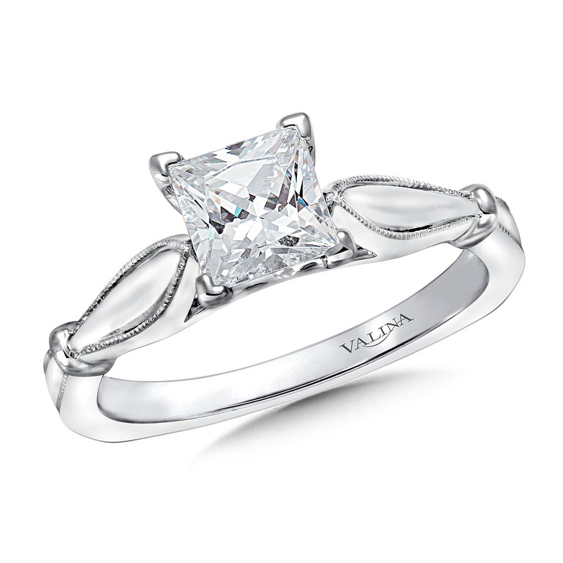 Valina Solitaire mounting .02 tw., 1 ct. Princess cut center.