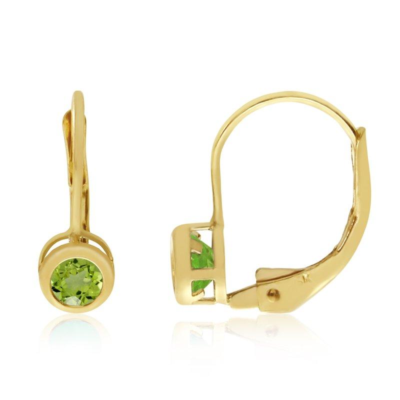 Color Merchants 14k Yellow Gold 4mm Peridot Bezel Leverback Earrings