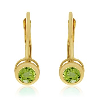 14k Yellow Gold 4mm Peridot Bezel Leverback Earrings