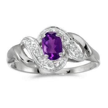 10k White Gold Oval Amethyst And Diamond Swirl Ring