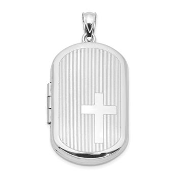 Sterling Silver Rhodium-plated w/ Side Cross Rectangular Locket