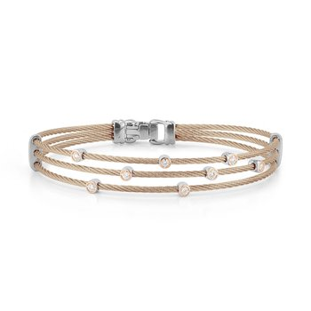 Carnation Cable Triple Strand Bracelet with 18kt Rose  & Diamonds