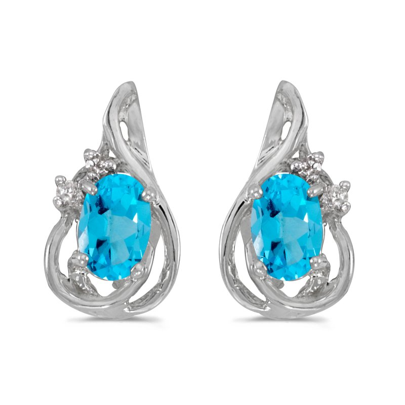 Color Merchants 14k White Gold Oval Blue Topaz And Diamond Teardrop Earrings