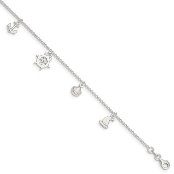 Sterling Silver Polished Ocean Theme 9in Plus 1in Ext. Anklet