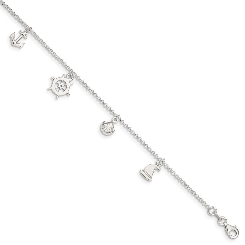 J.F. Kruse Signature Collection Sterling Silver Polished Ocean Theme 9in Plus 1in Ext. Anklet
