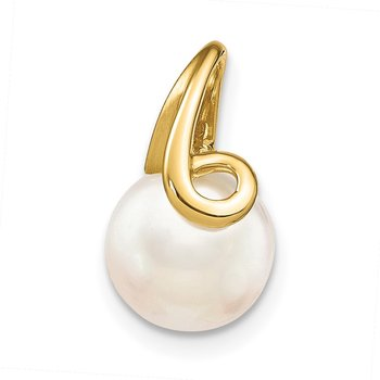 14k 8-9mm White Button Freshwater Cultured Pearl Pendant Slide