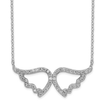 Sterling Silver Rhodium-plated CZ Wings w/2in ext. Necklace