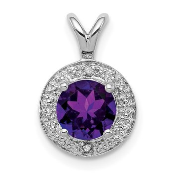 Sterling Silver Rhodium-plated Diam. & Amethyst Pendant