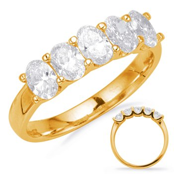 Yellow Gold Oval Diamond Band